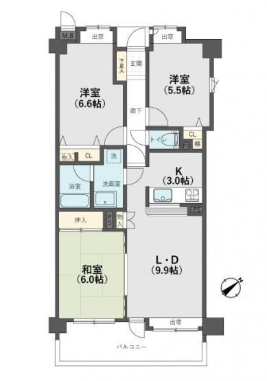 南区皿山3丁目 中古マンション3LDK 3階