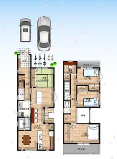 【3号地/参考プラン図】 2階建て×4LDKの住まい。1階LDK、水廻りを集約した、家事動線も考慮した設計です。