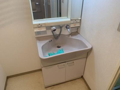 朝の身支度には欠かせない独立洗面化粧台です。シャワーとしても使える洗面台です。