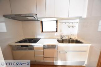 3口ガスコンロシステムキッチン(窓あり)、食洗器付き