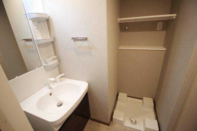 シャンプードレッサー付き洗面台と室内洗濯パン