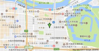 【地図】おおきに大手通サニーアパートメント(マメゾン)