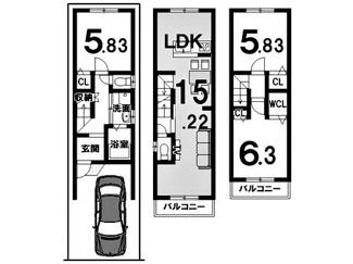 建物参考プラン延床面積:77.76平米