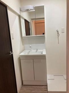 洗面台はシャワー水栓付き