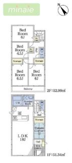 4部屋+畳コーナー 八千代市八千代台南2 限定2区画 2号棟