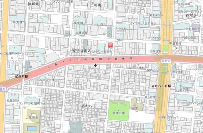 【地図】谷町六丁目駅2分の駅近収益物件!