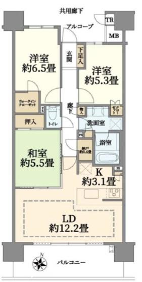 3LDK リビングの横に和室がありゆったりと過ごせます
