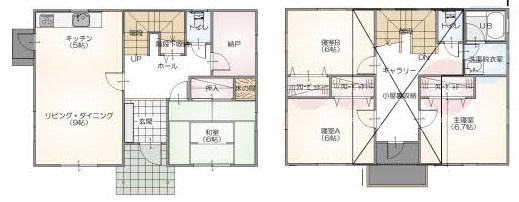 2階にある浴室が特徴。寝室は6帖以上でゆったり。小屋裏収納もあります。勝手口のあるキッチンも〇。