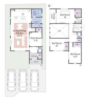 (1号棟)、価格3850万円、4LDK、土地面積171.72㎡、建物面積139.11㎡