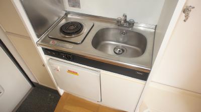 一口コンロとミニ冷蔵庫の付いたシステムキッチンです。