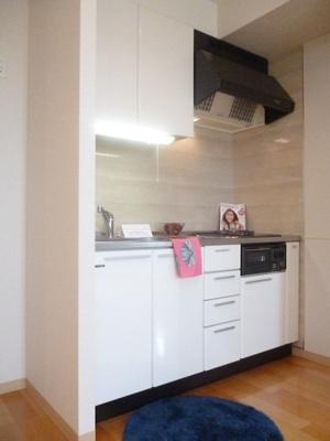 2口ガスコンロ/グリル付きシステムキッチンです☆場所を取るお鍋やお皿もすっきり収納できます♪