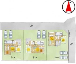 【区画図】郡山市富田町舘南新築一戸建て3棟