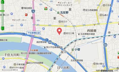 【地図】T.A足立区足立2丁目ⅡC棟