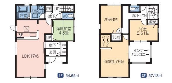 1号棟 4LDK リビングスルー階段仕様です。自然とご家族とコミュニケーションがとれますよ。