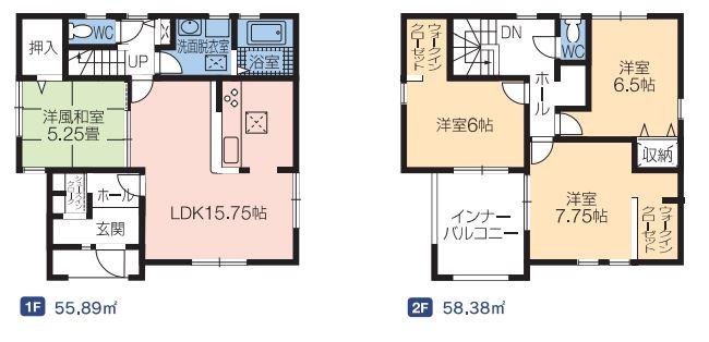 2号棟 4LDK+SIC+WIC×2 大容量の収納スペースですっきりきれいに片付きます。