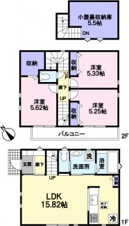 カースペース+固定階段式小屋裏収納。全室網戸付き。