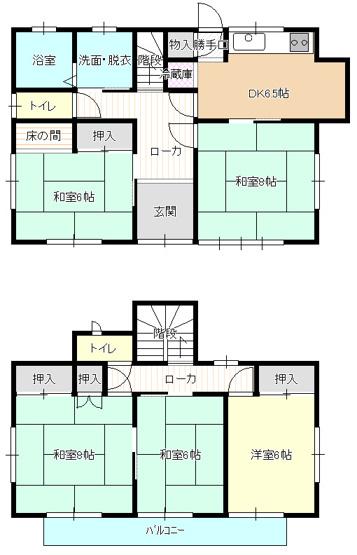5DK 各居室6帖以上で広々ゆったりと過ごせます。