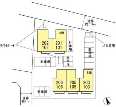【区画図】セジュール西小森野B棟