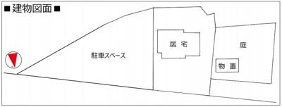 【区画図】◆敷地284坪◆平家建て◆オール電化◆縁側◆南丹市美山町田歌平野