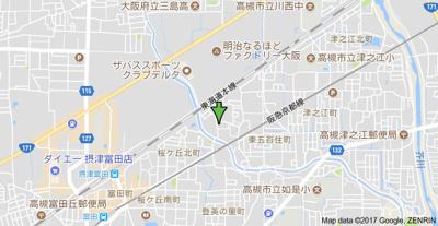 【地図】シャルル高槻 (株)Roots
