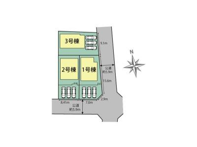 【区画図】豊橋市東小鷹野4丁目 新築一戸建て 2号棟 TE