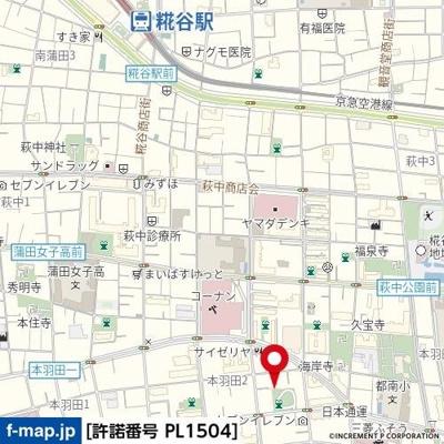 【地図】本羽田二丁目戸建