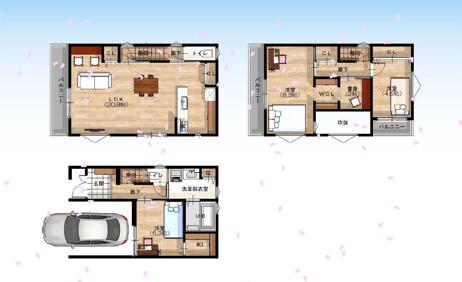 【3号地/参考プラン図】 吹き抜けを設けた2階LDKは約20.8帖。3階には書斎を設け、 在宅勤務(リモートワーク)にも対応できるお家です。
