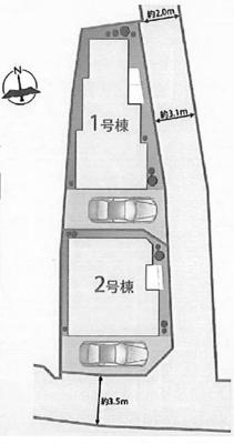 【区画図】池田市新町 新築戸建 1号棟