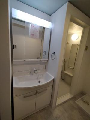 新調したての洗面化粧台は3面鏡や収納もついています。