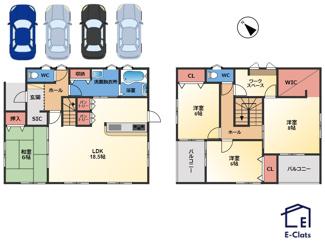 間取り図です。 4LDK、2階にワークスペースがあり、リモートワークに最適です! 全居室収納に加え、シューズインクロークやパントリー、洗面所の収納付きで収納力抜群です♪