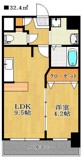 単身の方にもお住まいいただけるお部屋の広さです。反転タイプとなります