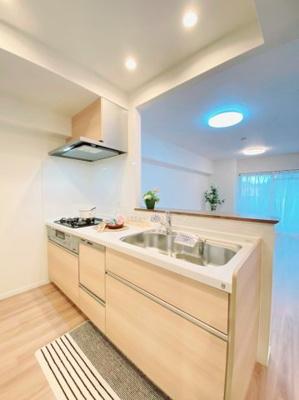 食器洗浄乾燥機付きシステムキッチンでお料理をお楽しみください!