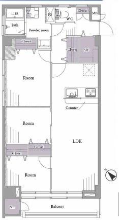 全居室フローリングの収納豊富な2LDK。管理体制も良好です。