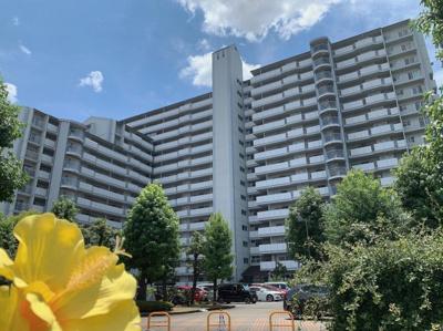 外観です。15階建て197戸の大規模マンションです。