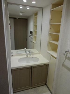 洗面化粧台横にはタオルや衛生用品を収納するのに便利な棚がございます。使いたい物がすぐに取り出せ便利ですね◎