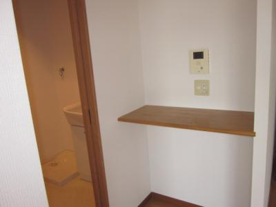 同じ間取りの別の部屋の写真です。ちょっとした棚があると何かと便利です。