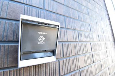 電気自動車用のEVコンセント標準装備です。ご自宅にいる間に大切なお車の充電ができちゃいます。