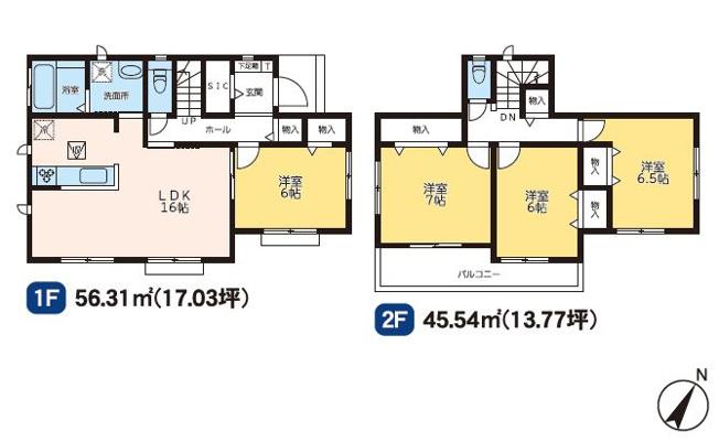 2号棟 4LDK+SIC 全居室南向きでフローリングのおうちです。お掃除がラクラクです。