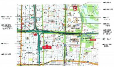 【地図】ルクレ内久宝寺
