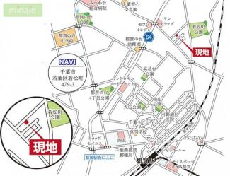 【地図】車3台 50坪 WIC SIC パントリー 千葉市 若松町 全2棟 1号棟