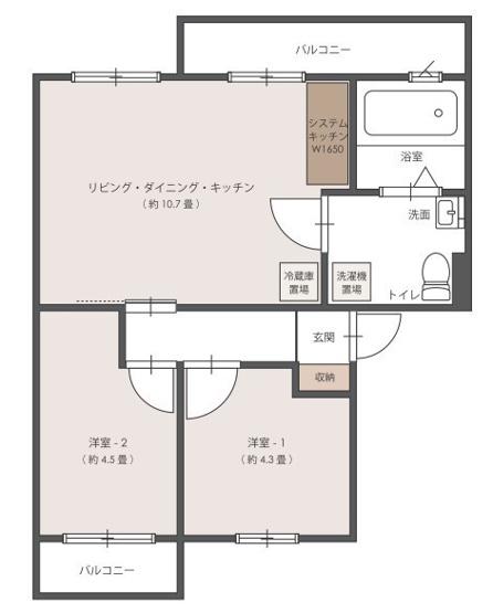 2LDKのお部屋です。フルリノベーション済のきれいな住まい♪ (※家具は展示品になります)