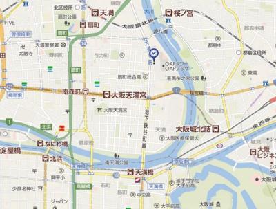 【地図】ザ・パークハビオ天満橋