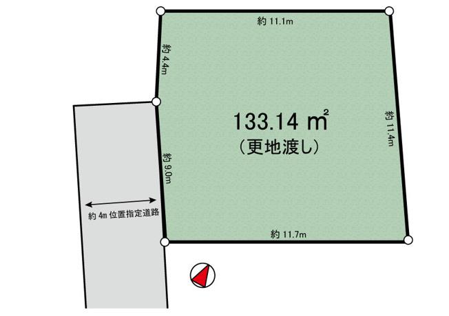 【土地図】道路とフラット・高石4丁目 売地【更地渡し】