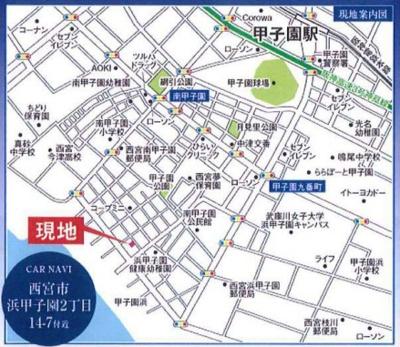 【地図】浜甲子園2丁目1号地 新築戸建