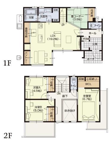 【3LDK】LDK:19.2帖/主寝室:6.7帖/洋室:5帖/洋室:4.5帖