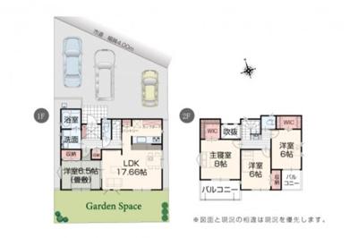 1号棟 全室南向きの新築4LDK 3台分の駐車スペース有 二面バルコニー