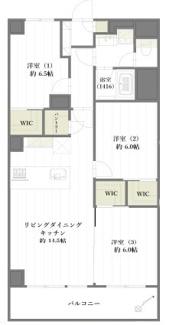 3LDK+3WIC+パントリー、広々収納スペースあり