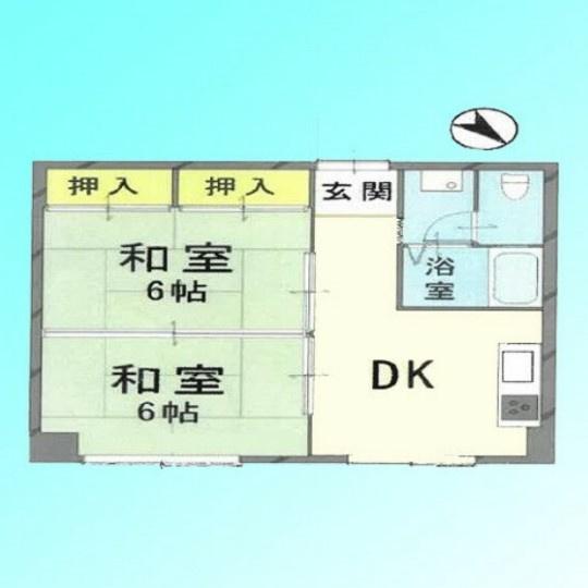 専有面積38.13平米~2階、和室2部屋の2DKの間取り、浴室トイレ別、室内洗濯機置き場、収納有り