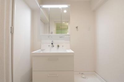 三面鏡洗面台は新調しています。鏡は収納も兼ねており化粧品なども収納する事ができ便利です。