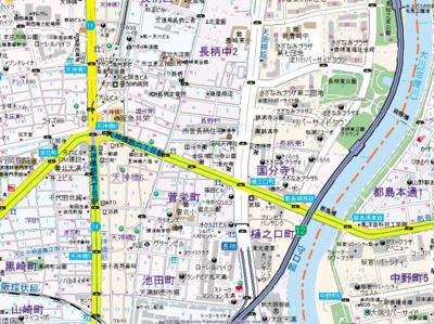 【地図】ノルデンハイムリバーサイド天神橋